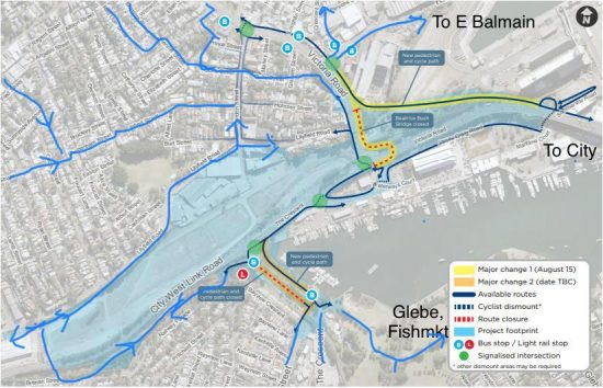 Bicycle detours around Rozelle Interchange works